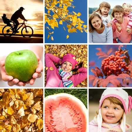 conceptual collage of pictures on the bright autumn theme photo