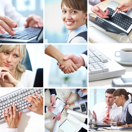 collage of photographs on the subject of a successful business photo