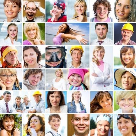 mucha gente: Collage de muchos diferentes rostros humanos felices de gente moderna