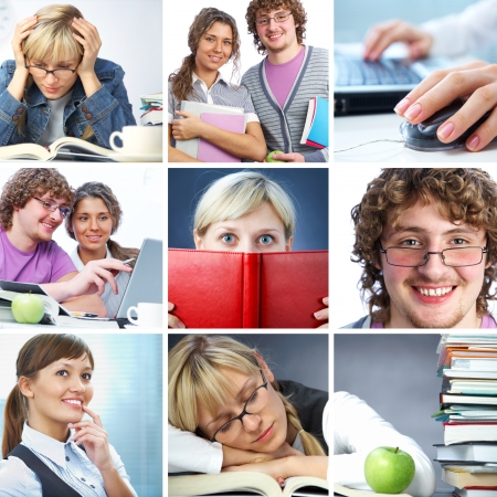 classmate: Collage of students working in college