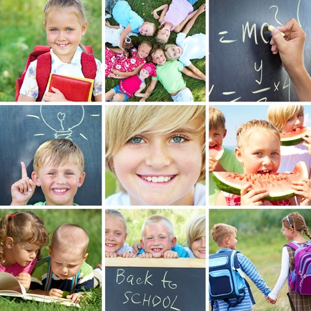 back to school: conceptual collage colorful pictures on primary education