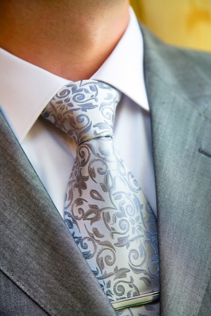 pinstripe: A stylish man in an expensive suit and tie and jacket, close-up. Unrecognizable.