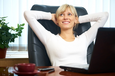 Portrait of a beautiful young successful businesswoman in the workplace Stock Photo - 10561885