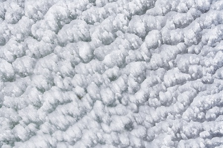 Texture of icy snow, details of ice crystals  photo