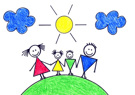 girl drawing: Childs drawing of happy family