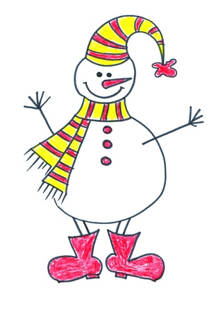 child's: Childs drawing of Snowman Stock Photo