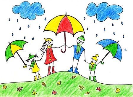 caricature woman: Childrens drawing of happy family with umbrellas in autumn time