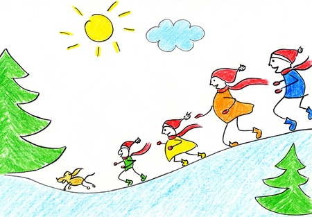 Childrens drawing of happy family with umbrellas in autumn time
