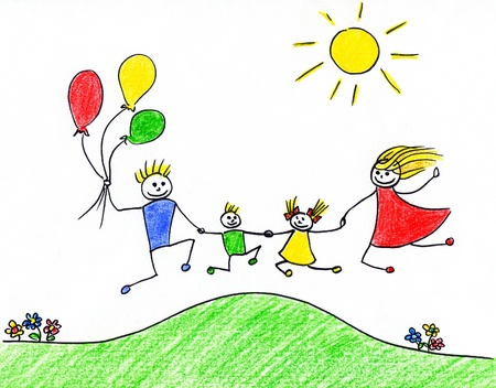 segurar: Childrens drawing of happy family having good time together  Banco de Imagens
