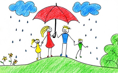 crayon drawing: Childrens drawing of happy family with umbrellas in autumn time