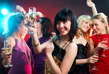fiestas discoteca: Retrato de las ni�as felices en el partido Foto de archivo