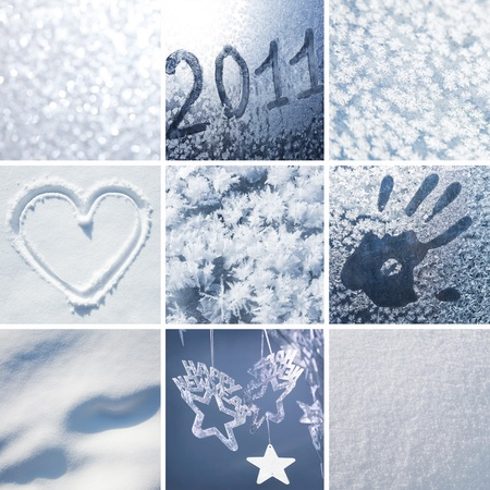 Collage of pictures on the theme of winter, snow and New Year photo