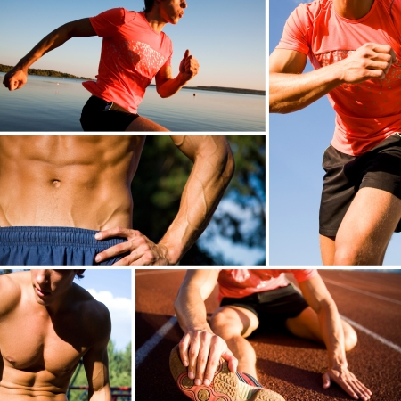 series of photographs of sports training of young handsome men. Unrecognizable. Stock Photo