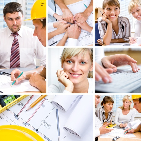 collage of photographs on the subject of a successful business, constructor, teamwork photo