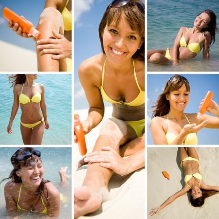 Collage of photo pretty white woman sunning on the beach and on the sea  photo