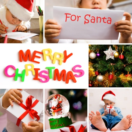 collage on the theme of Christmas: Christmas tree, kids, gifts photo