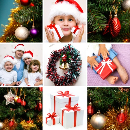 collage on the theme of Christmas: Christmas, family, kids, gifts, tree photo