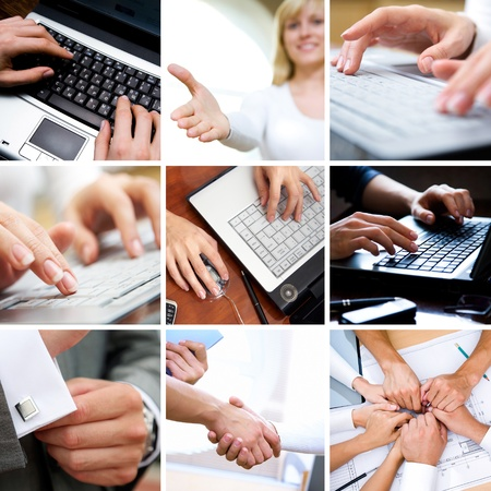 technology collage: Business collage made of nine different business pictures  Stock Photo