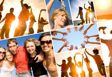 summer: Группа счастливых молодых людей, танцы на пляже на красивый закат лета. коллаж