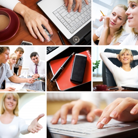 telephone together: collage of photographs on the subject of a successful business