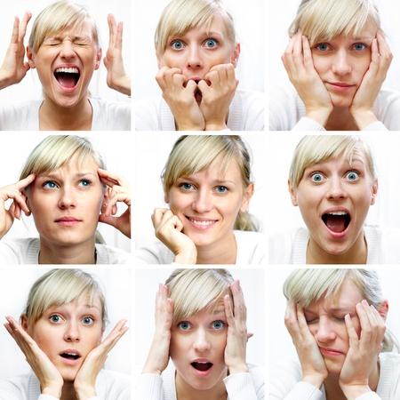 gestos de la cara: Collage de la mujer expresiones faciales diferentes
