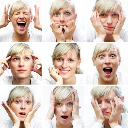 Collage of woman different facial expressions Stok Fotoğraf
