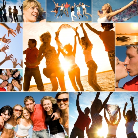 friends party: group of happy young people dancing at the beach on beautiful summer sunset. collage