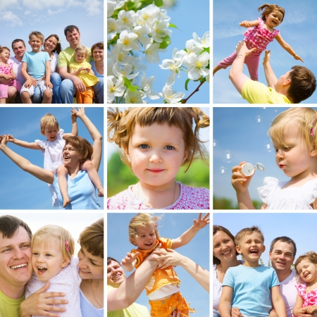 feeling positive: collage of pictures happy family little children in summertime outdoor Stock Photo