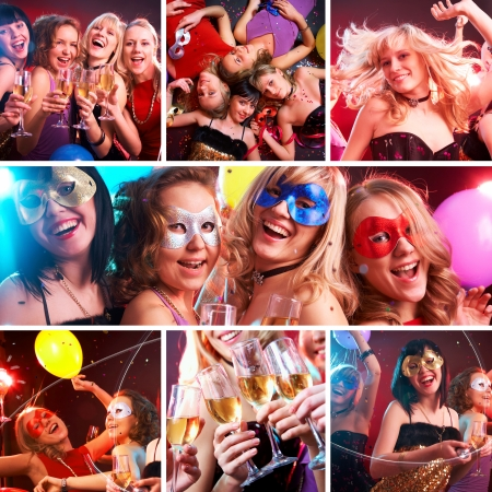 collage of colorful fun photos from the party of young and beautiful girls photo