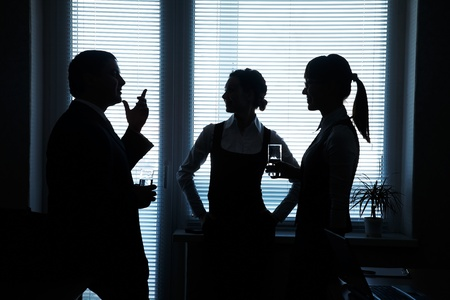 silhouettes of business partners discuss against the window in the office Stock Photo - 11223771