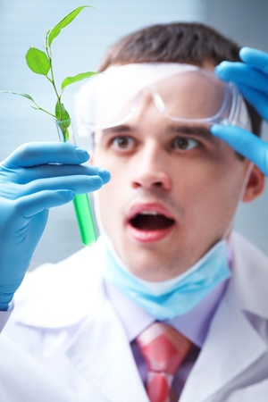 herbal knowledge: man scientist looking in wide-eyed on a test tube with plant