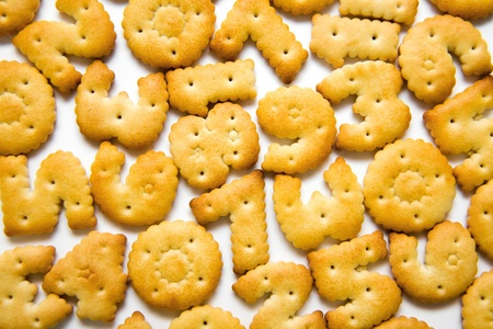 muddle: appetiny cookies in numbers are chaotic on  white background
