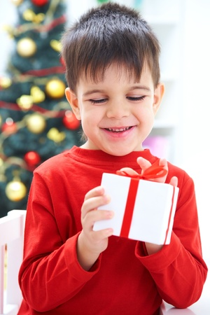 one eye closed: Portrait of adorable boy with closed eyes holding Christmas present