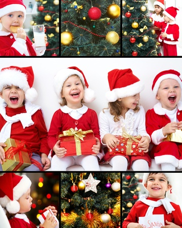 collage of colorful Christmas trees and images of children photo