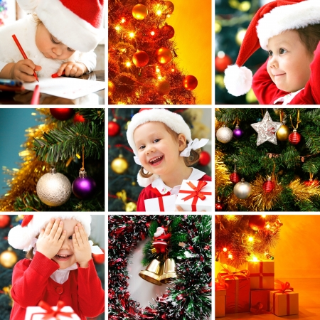collage of colorful Christmas trees and images of children
