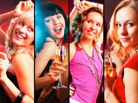 entre filles: collage de danse heureux jeunes filles � la partie Banque d'images
