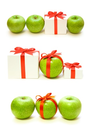 three presents:  three apples on the white background