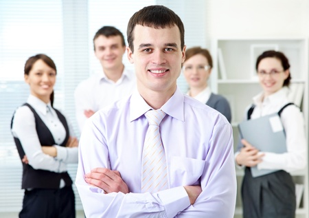 Portrait of leadership on business team background  Stock Photo - 11764322