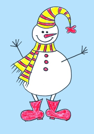 Childs drawing of a snowman in hat and boots photo