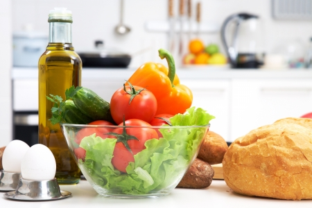 preparations: healthy foods are on the table in the kitchen Stock Photo
