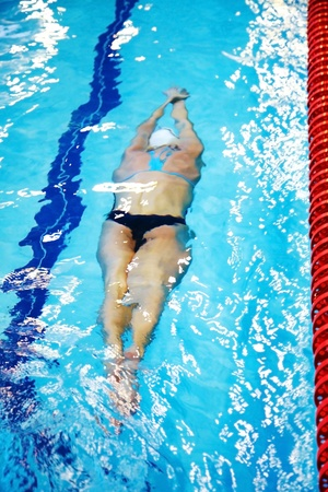 Female swimmer swimming in the pool photo