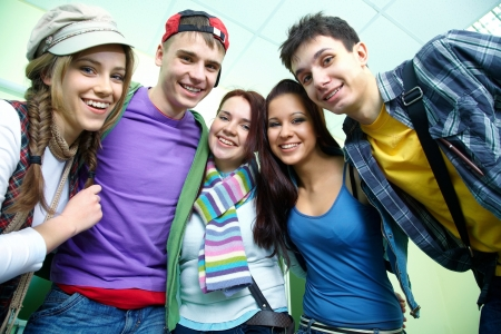 college campus: Portrait of six smiling students together Stock Photo