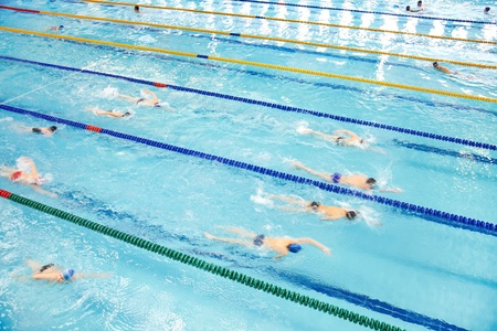 swimming race: Image of swimming pool. The top view