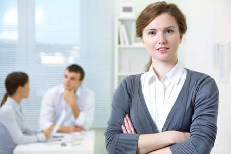 Business portrait of positivity young woman background office photo