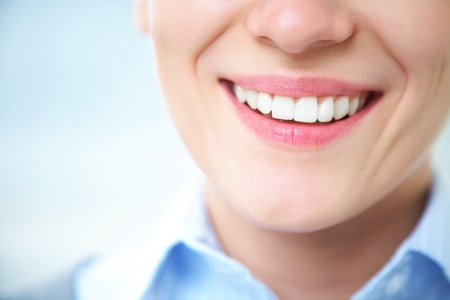 human nose: Close-up of female smile with healthy teeth Stock Photo