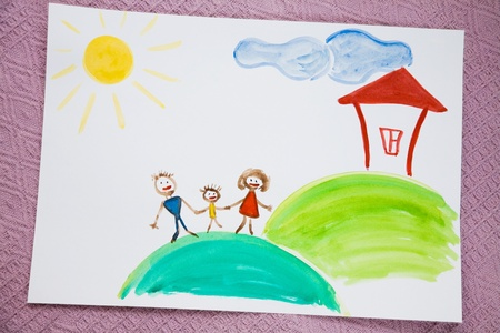 which:   Childrens drawing paints on which are drawn a family, the house, the sun   Stock Photo