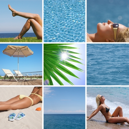 collage of pictures on the resorts beach photo