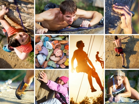 collage of photos of rock climbing and mountaineering photo
