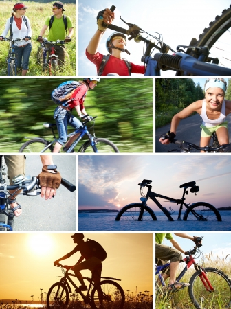 collage of photographs on the theme of love for cycling recreation photo