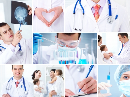 medical syringes: collage of images on medicine and health care Stock Photo